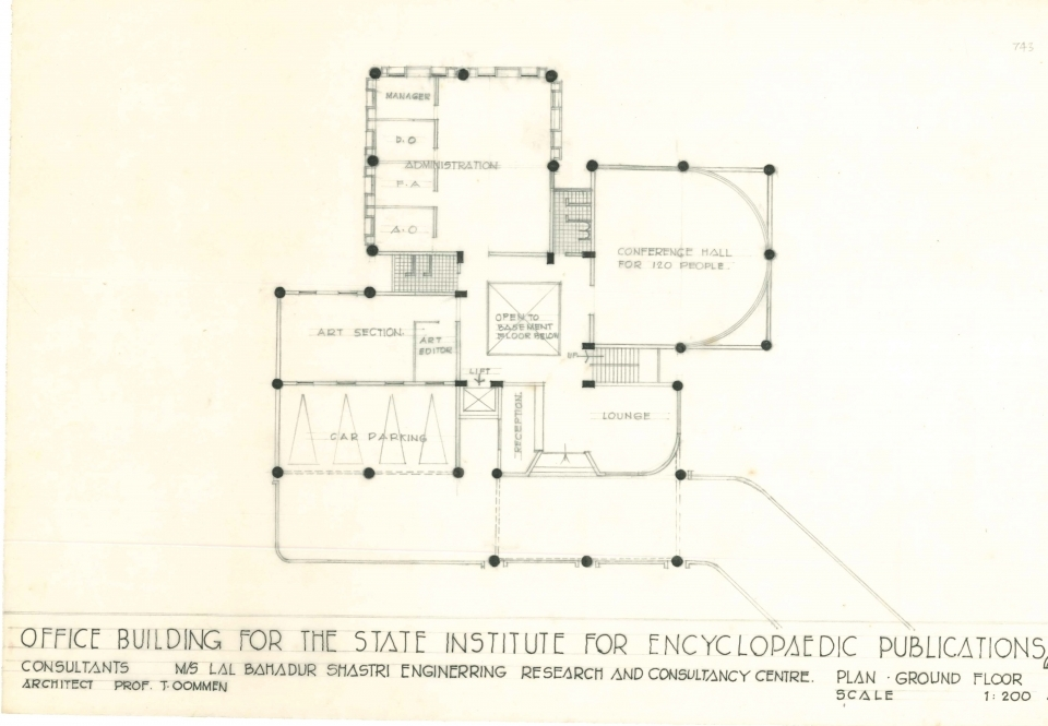 Ground Floor Plan, with Conference Hall and lounge, administrative offices and art section offices